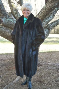 Beautiful Black Ranch Full Length MINK Fur Coat Petite Large PL #MitchellFur #BasicCoat