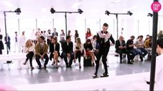 Doing the robot at the Nicole Farhi Show with Lexi and Lewis