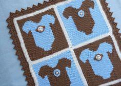 Monkey Onesie Baby Blanket CROCHET PATTERN by bearsy43 on Etsy, $4.25; absolutely darling