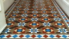 Victorian floor tiles and contemporary geometric ceramic tiles. Specialists in the design and supply of mosaic tile schemes. Victorian Flooring, Victorian Tiles, Victorian Design, Victorian Hallway, Victorian Bathroom, Hall Tiles, Tiled Hallway, Conservatory Flooring, Tiles London