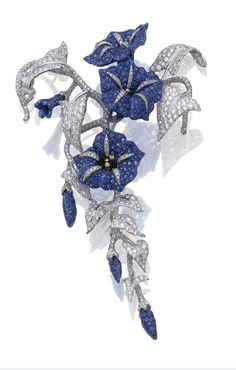 Sapphire and diamond brooch.: