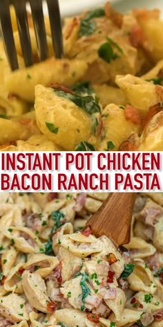 Instant Pot Chicken Bacon Ranch Pasta is a creamy and satisfying dish that the whole family will love! Ready in minutes, it makes for a quick hearty dinner! pot recipes videos Instant Pot Chicken Bacon Ranch Pasta [Video] - Sweet and Savory Meals Instant Pot Pasta Recipe, Best Instant Pot Recipe, Instant Pot Dinner Recipes, Recipes Dinner, Dessert Recipes, Summer Crock Pot Recipes, Simple Easy Dinner Recipes, One Pot Recipes, Instant Pot Meals