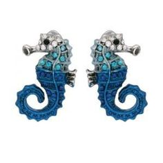 Amazon.com: Stallion of the Sea Blue Crystal & Enamel Seahorse Earrings: Jewelry