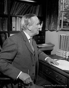 JRR TOLKIEN ;John Ronald Ruel Tolkien ;Photographed in his study at 76 Sandfield Road , Oxford ;1961 ;English writer , poet and university professor ;Credit : Pamela Chandler / ArenaPAL www.arenapal.com