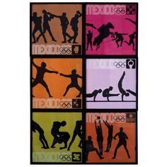 Set of Six Prints from the 1968 Olympics Game in Mexico by Lance Wyman | From a unique collection of antique and modern prints at https://www.1stdibs.com/furniture/wall-decorations/prints/