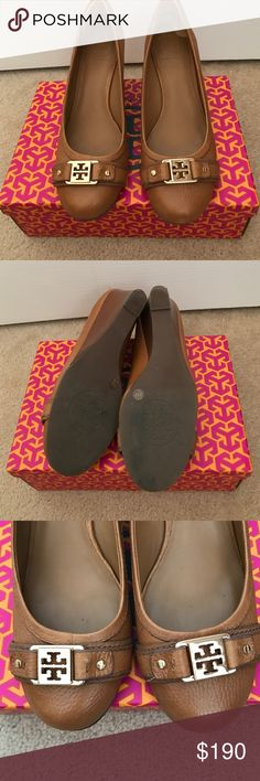 Tory Burch Ambrose Closed Toe Wedge Shoes Tory Burch Royal Tan Ambrose 65mm closed toe wedge shoes size 8. Worn twice. Too big. Original box and original receipt included. Tory Burch Shoes Wedges