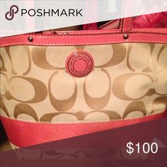 SALE Coral color Coach. Gently used. Beautiful inside out. Just like new. Coach Bags Totes