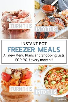 The answer to your dinner time prayers: Easy, convenient, Instant Pot Freezer Meal Menu Plans! Healthy, flavorful meals that can be cooked from frozen. Stress free dinner at last! Instant Pot Dinner Recipes, Delicious Dinner Recipes, Utah Food, One Pot Dishes, Main Dishes, Crockpot Recipes, Meat Recipes, Cooker Recipes, Chicken Recipes