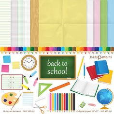 Back To School clip art and digital paper pack by JazzyPatterns, $8.00