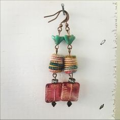 Handmade Boho Wool Bead Earrings Hand dyed wool beads from Spain. I've added a gorgeous pink etched gold glass bead and rhinestone rondel.  Copper wires. ChicEVintage Jewelry Earrings