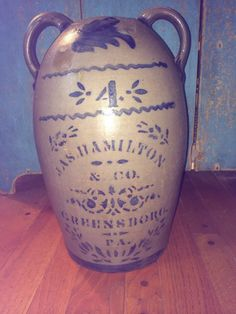 - Salt Glaze Crock #4 JAS Hamilton & Co Greensboro, Pa Wonderful Stencil.    Sold  Ebay   410.00.    ~♥~