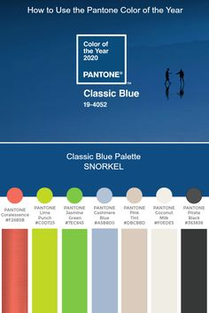 >We have created five unique color palettes featuring PANTONE Classic Blue to help you bring this year's special shade into your designs. Blue Colour Palette, Blue Color Schemes, Wedding Color Combinations, Color Combos, Design Blog, Design Studio, Dusty Blue, Interior Design Trends, Chevron