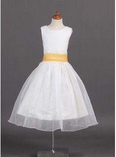 Flower Girl Dresses - $113.99 - A-Line/Princess Scoop Neck Tea-Length Organza Satin Flower Girl Dress With Sash  http://www.dressfirst.com/A-Line-Princess-Scoop-Neck-Tea-Length-Organza-Satin-Flower-Girl-Dress-With-Sash-010007925-g7925