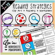 Vibrant, thoughtful and versatile clip art icons of the Super Six Reading Strategies (making connections, predicting, questioning, visualising, monitoring, key facts) that can be used anywhere! On worksheets, in presentations, posters - wherever you want to display the reading strategies.