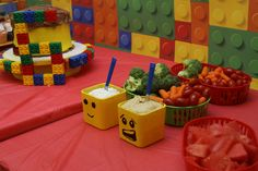 LEGO themed kids birthday party food table display