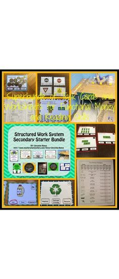 This bundle combines 14 existing life-skills products (and a bonus coin sorting file folder activity) offered at a reduced price to provide all the basics for starting using TEACCH structured work systems for students with autism and other special needs working on functional sight words, money skills, and next dollar skills. $32