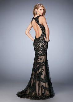 Gigi 22837 Backless Embroidered Halter Evening Gown