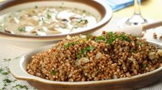 Buckwheat groats with mushrooms. Buckwheat groats with forest mushrooms and cut ,