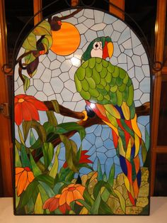 Lorenzo by Lily Calderon Stained Glass Birds, Stained Glass Designs, Mosaic Crafts, Mosaic Projects, Stained Glass Projects, Stained Glass Patterns, Mosaic Patterns, Mosaic Animals, Mosaic Birds