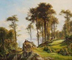 Carl Frederic Aagaard (1833-1895): To hyrdedrenge spejder ud over vandet, mens køerne græsser på de stejle skrænter, 1885,  (Two shepherd boys relaxing while the cows are grazing on the steep slopes near the sea)