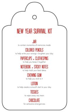 Free Printable: New Year Survival Kit Gift in a Jar