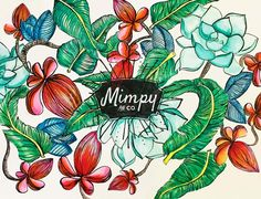Mimpy and Co. Print Design, Logo Design, Flower Sketches, Graphic Design Studios, Watercolor Drawing, Logos, Drawings, Illustration, Flowers