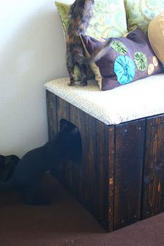 Tails to Tell: Reclaimed Pallet Wood Litter Box Bench