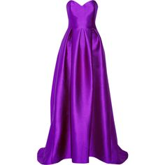 Lela Rose Embossed satin gown ($3,995) ❤ liked on Polyvore featuring dresses, gowns, long dresses, vestidos, purple, lela rose dresses, purple dress, purple ball gowns, corset style dress and purple gown