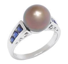 14K White Gold Black Tahitian South Sea Pearl & Sapphire Ring