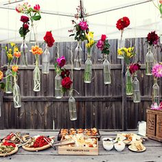 Homemade decorations #flowers #roses #placesettings #party #outdoors #summer