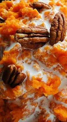 Mashed Sweet Potato Casserole with Marshmallow Glaze