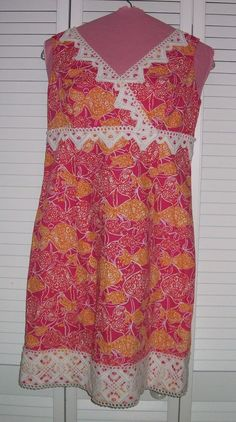Lilly Pulitzer Jubilee Dress Size 8 Pink Orange Shift Fish Summer Tank Lace #LillyPulitzer #Shift #Casual