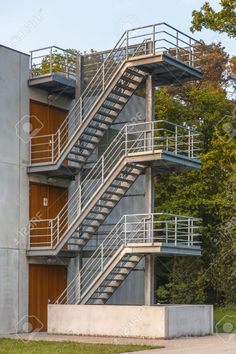 Fire Escape Stairs On The Exterior Of A Building Stock Photo, Picture And Royalty Free Image. Image 25227692.