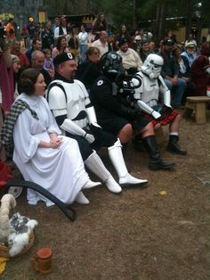I went to a Renaissance festival and everyone was dressed in traditional clothes of the period, except these guys.
