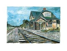 Bob Dylan New England Depot, 2017 Giclee print on paper. Signed by Bob Dylan, in margin lower right, numbered in margin lower left. Certificate Of Authenticity. Paper size 30 x 23 in x cm Edition of 295 Bob Dylan Art, Pictures Of America, Downtown New York, Train Tracks, New Art, New England, Paths, Castle, Artwork