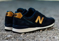 New Balance Womens 996: Navy/Gold Logo These would go perfectly with a Brewers shirt.