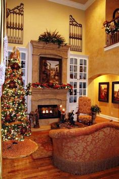 warm tuscan living room colors with polished wooden floor and fireplace
