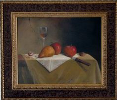 Daily Painters of Michigan: JEANNE ILLENYE large classical fruit wine oil painting old world