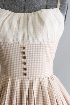 Vintage 1950s Dress / 50s Cotton Dress / Tan and White Gingham