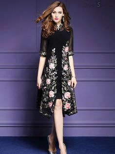 Shop - Black Embroidered Floral Mesh Midi Dress on Discover stylish and vogue women s dresses for the season Regular discounts up to 60 off Unique Prom Dresses, Casual Dresses, Formal Dresses, Women's Fashion Dresses, Dress Outfits, Midi Dresses Online, Cheongsam, Blouse Styles, Dress Skirt