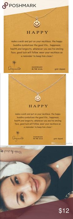 Dogeared necklace - happy face. NWT Happy Buddha face symbolizes the good life...happiness, health and longevity. Dogeared Jewelry Necklaces