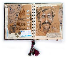 Stephanie Ledoux - The Motorcycle Diaries Voyage Sketchbook, Travel Sketchbook, Art Sketchbook, Sketch Journal, Artist Journal, Bujo, Collages, African Art Projects, Moleskine