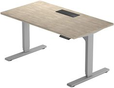 """Amazon.com: PROGRESSIVE AUTOMATIONS Desk Electric Standing Desk 60"""""""" x30, Adjustable Height Stand up desks for Home Office - Solo Ryzer, Silver ash, Grey Frame: Home & Kitchen Sit Stand Workstation, Sit Stand Desk, Home Desk, Home Office Desks, Electric Standing Desk, Standing Desks, Kitchen Wall Clocks, Home Office Lighting, Frame Light"""