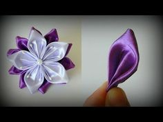 Цветок канзаши Сиреневая нежность - YouTube