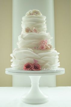 This Has Turned Out To Be Quite The Popular Design For Me This Year This Time I Did The Edging In An Ombre Pink As Well As The Sugar Roses on Cake Central