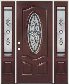 Fleur-de-lis Oval Pre-finished Mahogany Fiberglass Prehung Door Unit with Sidelites Front Door Design Wood, Main Door Design, Porch Doors, Entry Doors, Pine Doors, Exterior Doors With Sidelights, Colonial House Exteriors, Cheap Interior Doors, Main Entrance Door