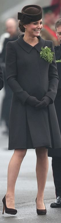 Kate Middleton: Coat – Catherine Walker  Shoes and purse – Emmy  Hat – Lock and Company  Earrings – Kiki McDonough