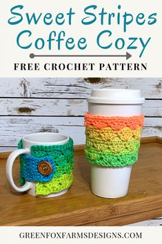 Sweet Stripes Coffee Cozy Free Crochet Pattern E A Green Fox - Sweet Stripes Coffee Cozy Free Crochet Pattern Hey There Crochet Friends I Am Delighted To Introduce You To The Next Pattern In The Sweet Stripes Collection And A Free Crochet Pattern Too I Crochet Coffee Cozy, Crochet Cozy, Crochet Crafts, Free Crochet, Irish Crochet, Coffee Cup Cozy, Easy Coffee, Crochet Projects, Crochet Designs