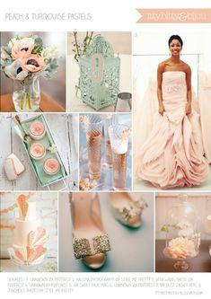 pastel colors, soft peach and mint green color scheme