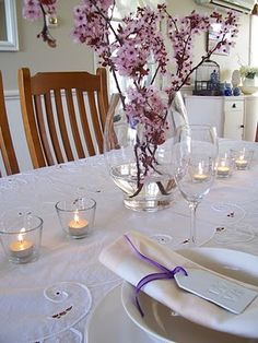 White table with tealight accents